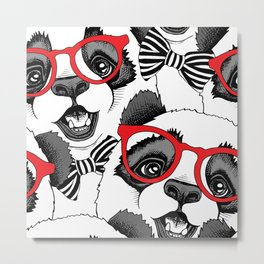 Seamless pattern with image of a Panda child in a red glasses with a tie. Metal Print