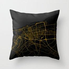 Calais - France Gold City Map Throw Pillow