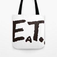 eat Tote Bags featuring EAT by Masahisa  Saito