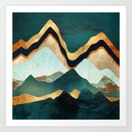 Velvet Copper Mountains Art Print