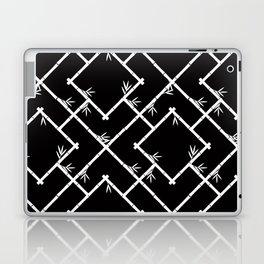 Bamboo Chinoiserie Lattice in Black + White Laptop & iPad Skin