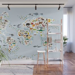 Cartoon animal world map for children and kids, Animals from all over the world, back to school Wall Mural