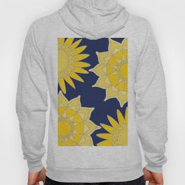 Sunshine yellow navy blue abstract floral mandala Hoody