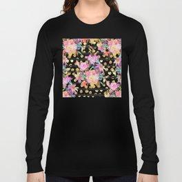 Elegant spring flowers and stripes design Long Sleeve T-shirt