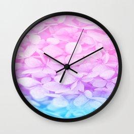 Pastel Flowers Pink Lavender Aqua Wall Clock