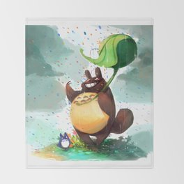 Totoro Rainbow rain Throw Blanket