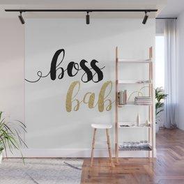 Boss Babe   Gold Glitter Wall Mural