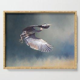Heron in Flight Serving Tray