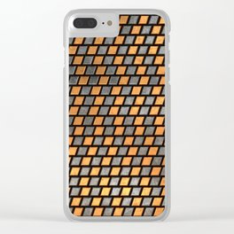 Irregular Chequers - Black Steel and Copper - Industrial Chess Board Pattern Clear iPhone Case