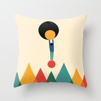 cycle Throw Pillows featuring Cycle by Andy Westface
