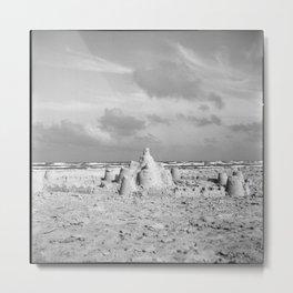 Sandcastle in Black & White Metal Print