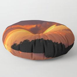 Cloudy Sunset Hill Woods Scenic Landscape Floor Pillow