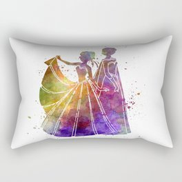 Elsa The Snow Queen and Anna in watercolor Rectangular Pillow