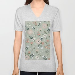 Mint Green Floral Pattern Pastel Flowers Cute Comforting Pattern Unisex V-Neck