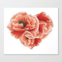 poppies heart Canvas Print
