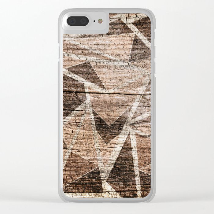 Old wood . Brown triangles . Clear iPhone Case