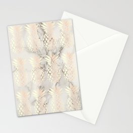 Pretty copper rose gold pineapple pattern & marble Stationery Cards