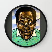 bill Wall Clocks featuring Bill Cosby by Portraits on the Periphery