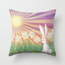 white rabbit in the daffodils Throw Pillow