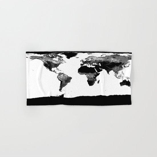 World Map  Black & White Hand & Bath Towel