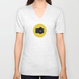 Vintage Film Camera in black Unisex V-Neck