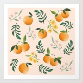 Zesty Oranges Pattern in Peachy Pink Art Print