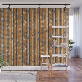 Bamboo Forest Pattern - Rust Tan Blue Wall Mural