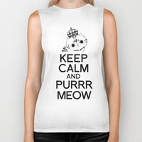exo Biker Tanks featuring Exo Cat : Keep Calm  And Purrr Meow! by The Gang of Fur
