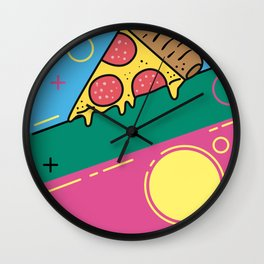 80s Pizza Party Wall Clock