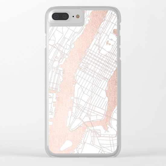 New York City White on Rosegold Street Map Clear iPhone Case