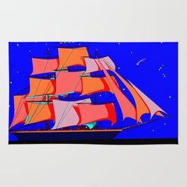 A Clipper Ship at Sea Full Sail at Night under the Stars Rug