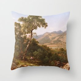 Scenery At Shelburne Vermont 1865 By David Johnson | Reproduction | Romanticism Landscape Painter Throw Pillow