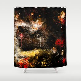 guinea pig colorful side portrait wsee Shower Curtain