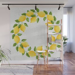 Watercolor Lemons Wall Mural