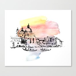 Venice. Watercolor and ink. Canvas Print