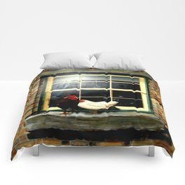 Rooster & Hen on a window Ledge Comforters
