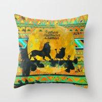 simba Throw Pillows featuring Timon, Pumbaa & Simba. by Sara Eshak