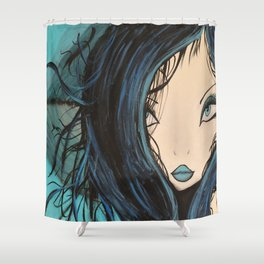 Blue and Black Hair Girl Mermaid Painting by Jodi Tomer. Figurative Abstract Pop Art. Shower Curtain