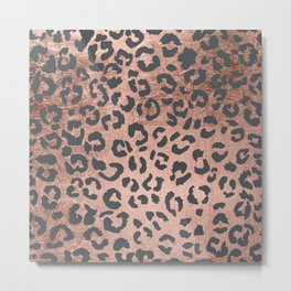 Modern charcoal grey rose gold leopard pattern Metal Print