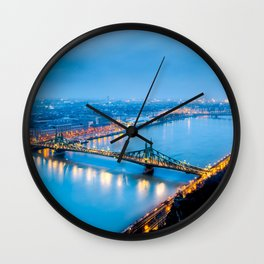 World Famous Szabadság Híd Liberty Bridge Danube River Budapest Hungary Nightlife Ultra HD Wall Clock