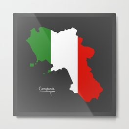 Campania map with Italian national flag illustration Metal Print