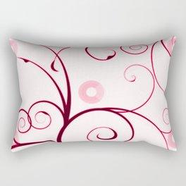 Cranberry Red Swirls and Circles Rectangular Pillow