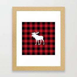 Red Buffalo Plaid Moose Framed Art Print