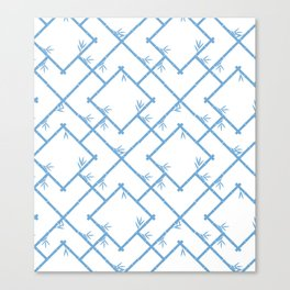 Bamboo Chinoiserie Lattice in White + Light Blue Canvas Print