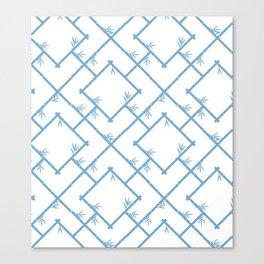 Bamboo Chinoiserie Lattice in White + Light Blue Canvas Print