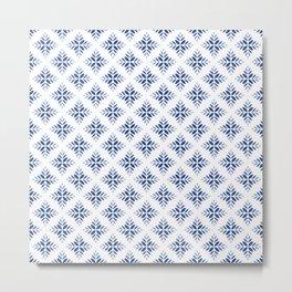 Geometric Nordic Icy Blue Snowflakes Metal Print