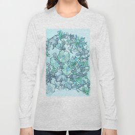 """Alphonse Mucha """"Printed textile design with hollyhocks in foreground"""" (edited blue) Long Sleeve T-shirt"""