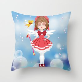 Mini Me Stars: Red Sakura Throw Pillow