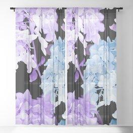 Hydrangea Branches On A Black Background #decor #buyart #society6 Sheer Curtain
