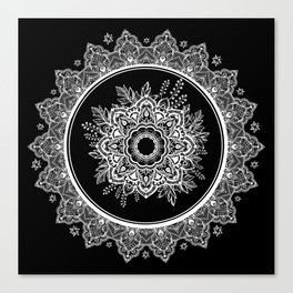 Bohemian Lace Paisley Mandala White on Black Canvas Print